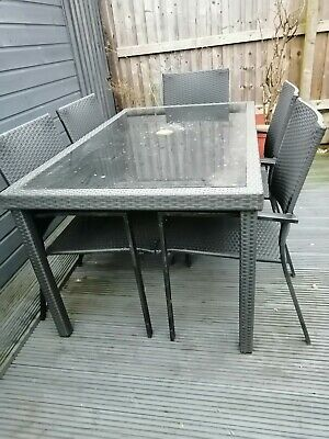 Garden Table And 6 Chairs Dark Grey, Need A Good Clean