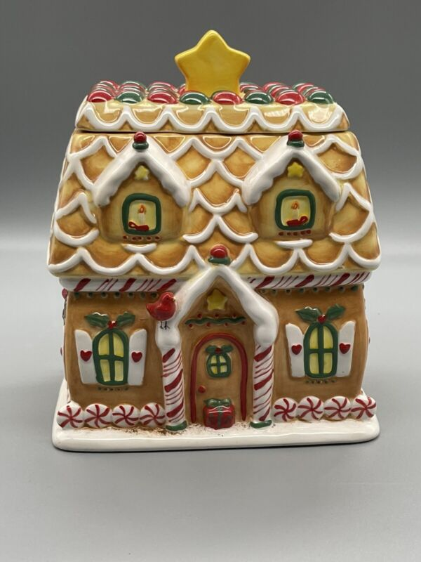 Hallmark Christmas Gingerbread House Cookie Jar Excellent Condition!!