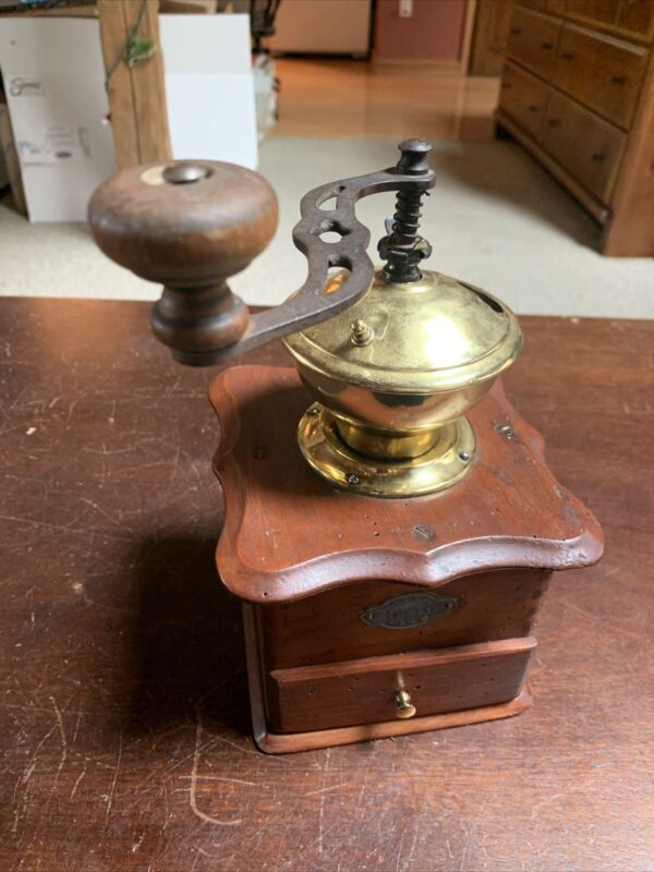 Vintage Leinbrock Werke Ideal Brass & Wood Hand Crank Coffee Grinder