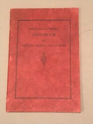 Delta Kappa Gamma Fraternity Handbook Rules Customs 1937
