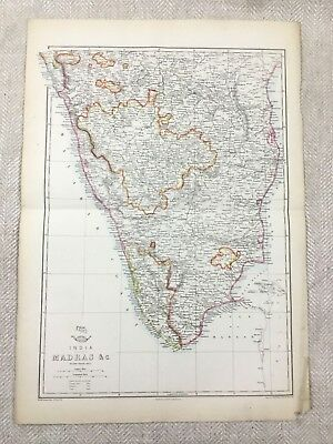 Antique Map of India Madras Indian Continent Old Hand Coloured 19th Century