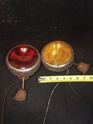 2 Antique Vintage Tractor Lights Rear Lamps Rat Rod Fog Amber Lights