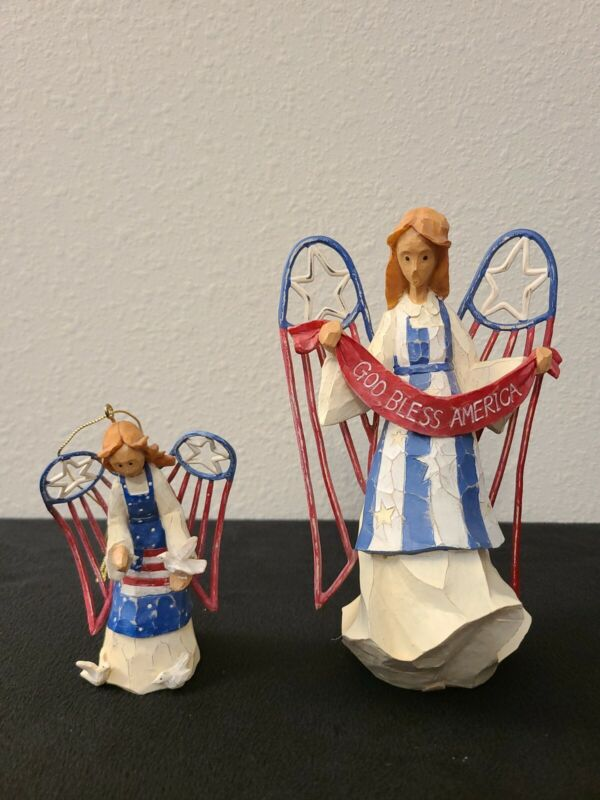 2001 Angel Figure Roman American Angel Accents God Bless USA & Ornament Angel