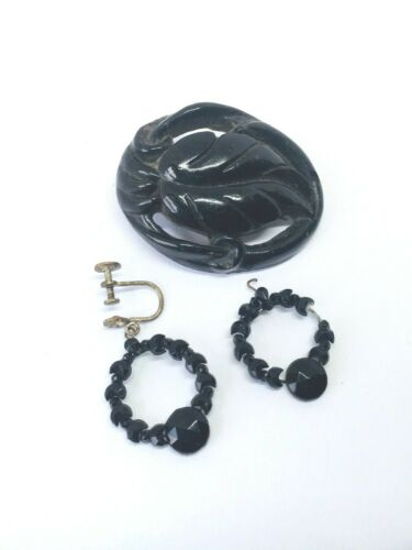 lot BOG OAK brooch and French jet ~  PROJECT SPARE