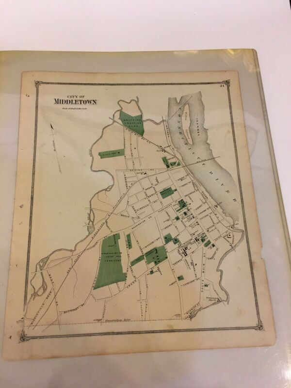 1874 Antique COLOR Map Middlesex County/PART OF THE CITY OF MIDDLETOWN, CT/b