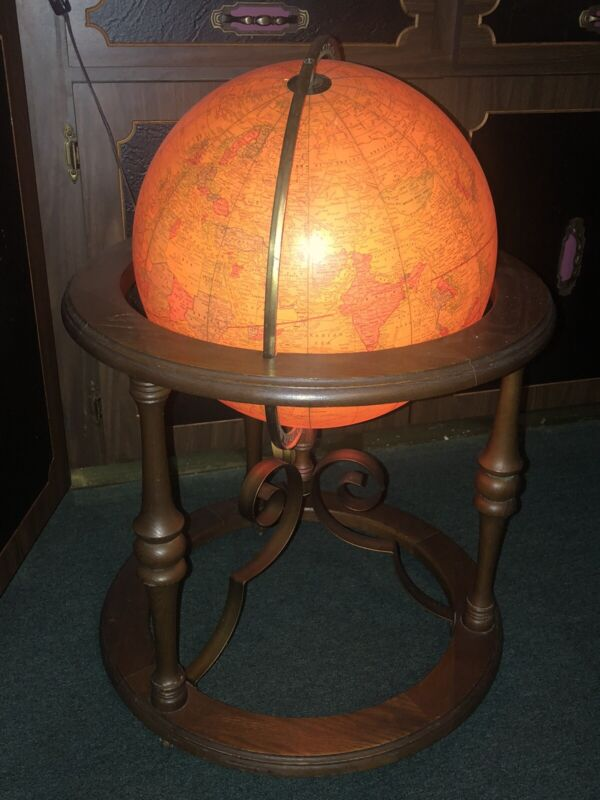 "VINTAGE 16"" DELUXE LIGHT UP GLOBE-GEORGE F CRAM CO-BUTLER 941 WOOD ROLLING STAND"