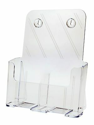 Tri Fold 2 Pocket Display Rack Counter Wall Brochure Holder W Divider Qty 20