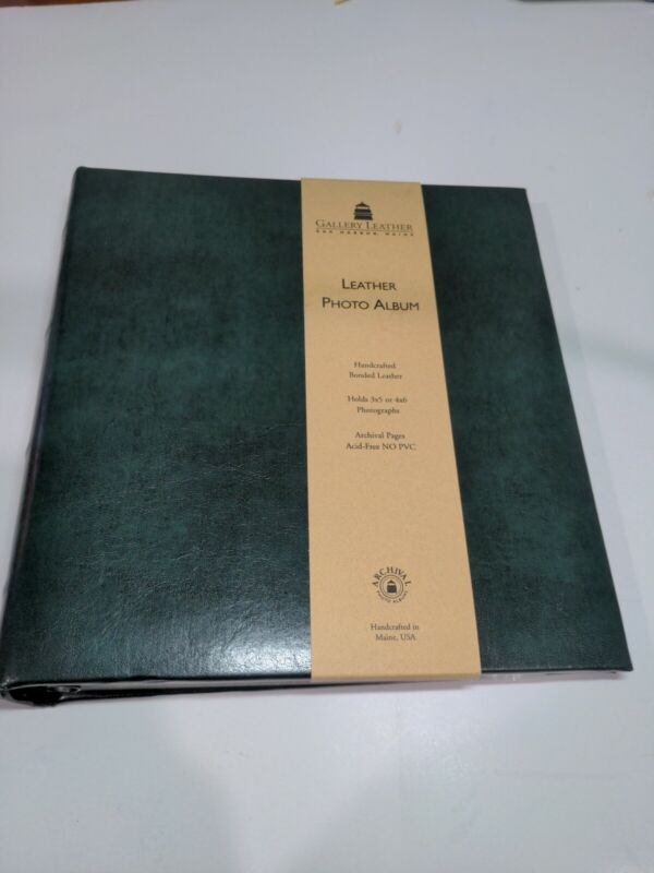 "Gallery Leather Compact Photo Album - 120 4x6 Photos - 9.25"" x 8"" - Acadia Green"