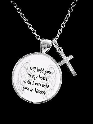 Memorial Necklace I Will Hold You In My Heart Guardian Angel Cross Sympathy Gift