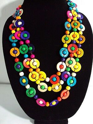 Wooden Bead Necklace Infinity Circle Layered Colorful 3 Strand Choker Wood New
