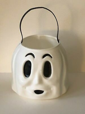 Vintage HALLOWEEN Empire Plastic Blow Mold Spooky GHOST Candy Bucket Pail RETRO