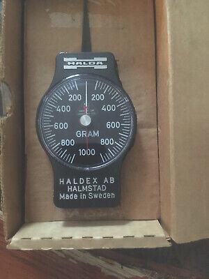 Halda Haldex AB Tension Force Dial Indicator Meter 0-200 Grams Made In Sweden