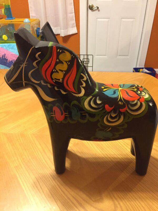 XLarge 15inch wooden Swedish Dala horse in Black Dalarna RARE