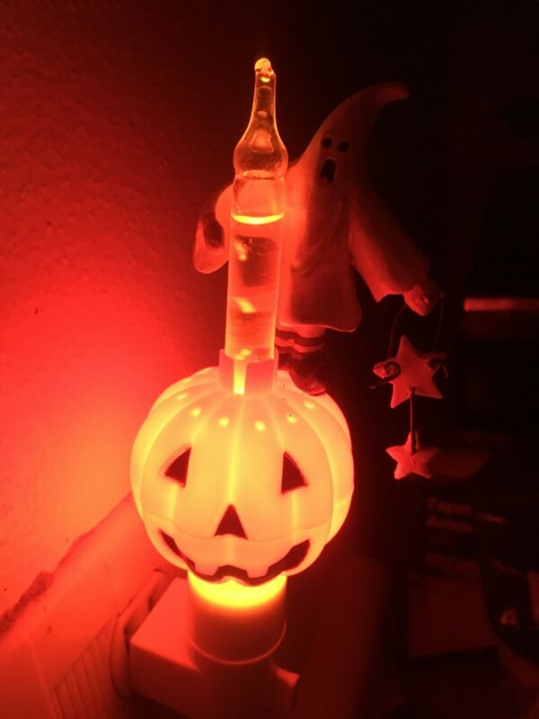 Halloween Orange Bubble Night Light Jack O Lantern Pumpkin Ghost Wall Plug 90