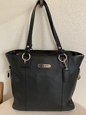 Coach F19456 Smooth Black/Silver North South Gallery Tote Handbag EXCELLENT!