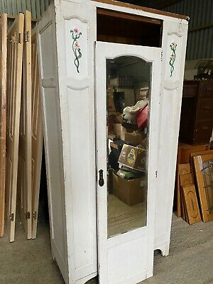 Edwardian Decorative  Antique Painted Wardrobe Armoire Mirror 13/11/M