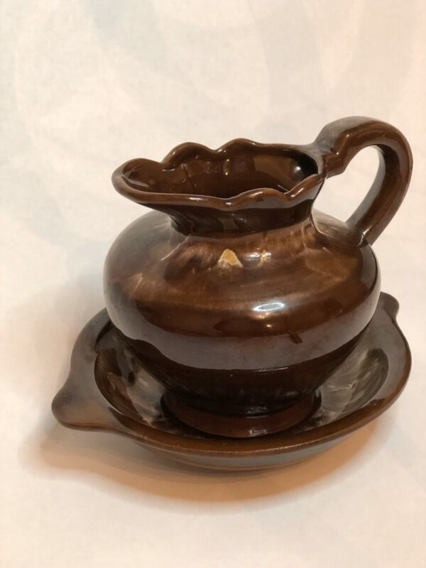 Vintage Wash Basin And Pitcher Small Brown Made In Japan