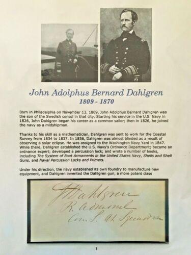 Civil War Original Autograph Admiral John Dahlgren