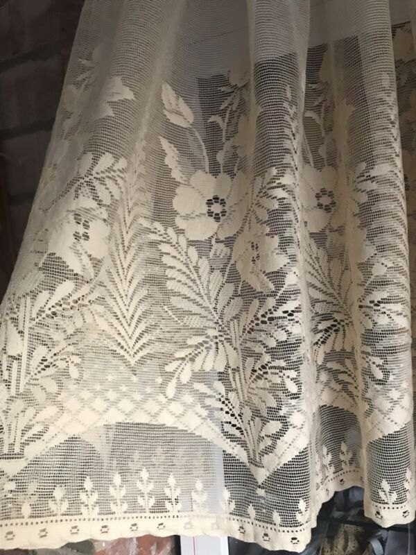 "Vintage Chenille Lace Peach Net Pale Gold Ivory Window net curtain 65"" X 134"""