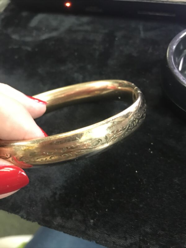 Antique Victorian Yellow Gold Filled Flowers etched  bangle bracelet - #4