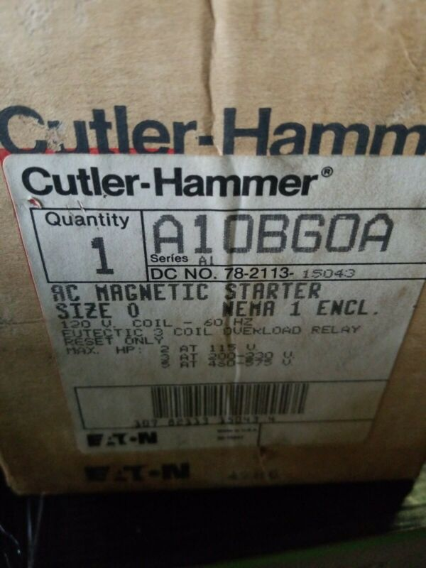 EATON CUTLER-HAMMER A1OBGOA MAGNETIC MOTOR STARTER NEW