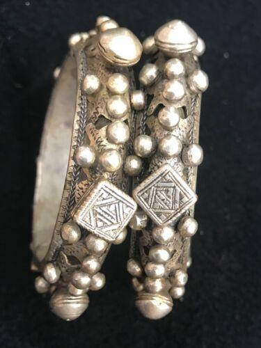 (B) Antique Pair of Berber Silver Knobby Bracelets Morocco Mauritania