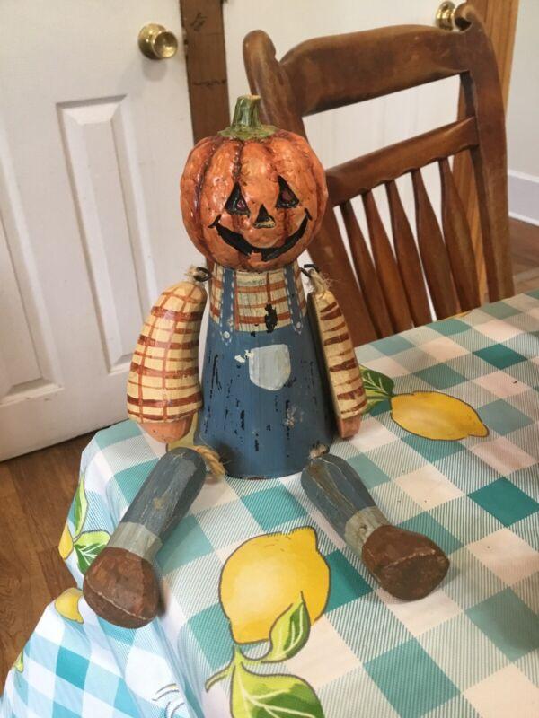 Halloween Pumpkin Tin Shelf Sitter