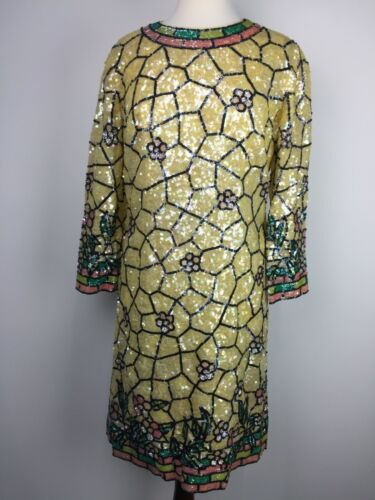 VTG I. Magnin & Co Sequin Cocktail Evening Holiday Womens Midi Dress Used Floral