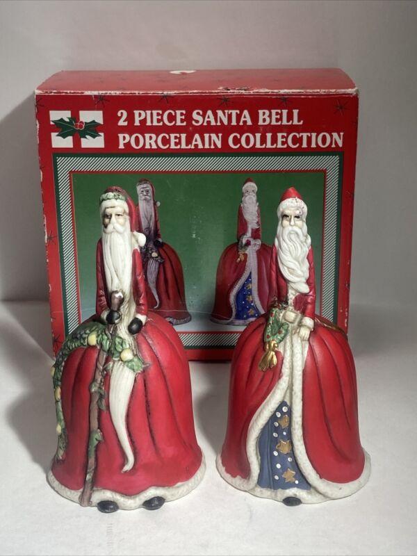 Vintage 2 Pieces Santa Bell Porcelain Collection Set
