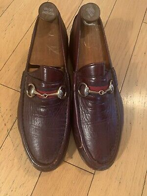 Vintage Burgandy Leather Gucci Loafers 43