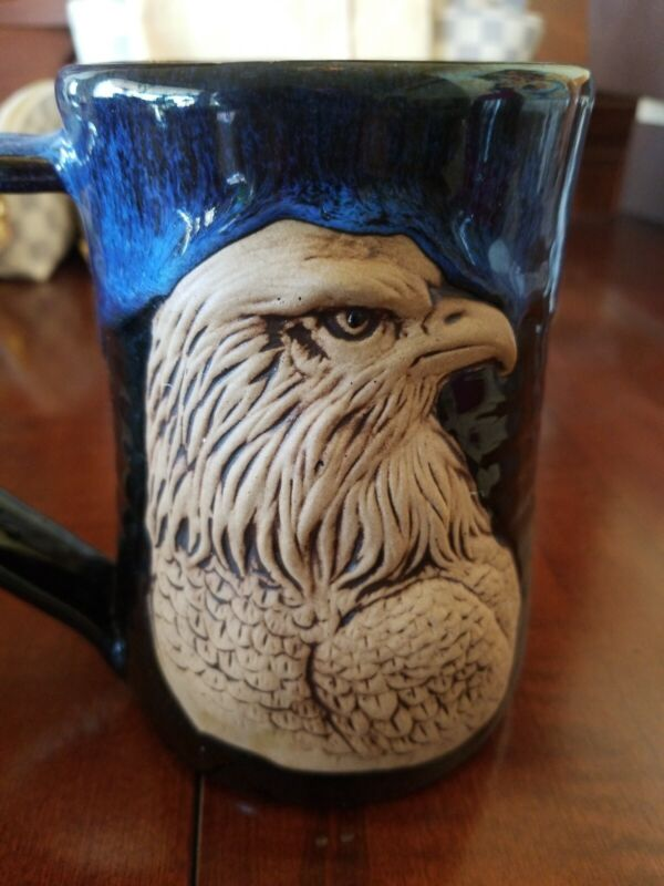 Always Azul Artisan Crafted BLUE EAGLE MUG STEIN  Pottery Villa Grove Colorado