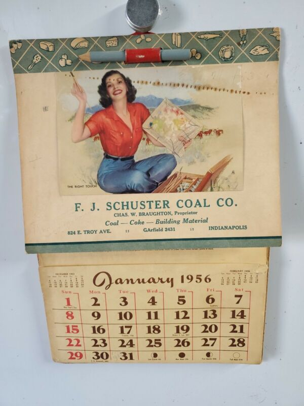 1956 F.J. SCHUSTER COAL CO. Indianapolis, Ind. Calendar / Advertising.