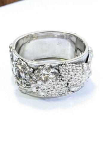 Vintage Silver Tone Grape Leaves Wide Statement Hinge Bracelet