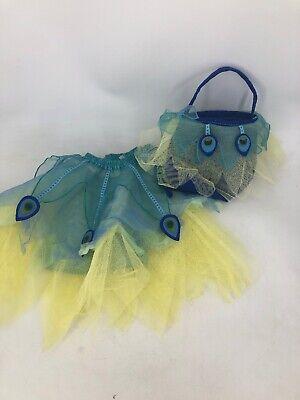 Pottery Barn Kid Girls Halloween Costume Mesh Net Peacock Bird 4 5 6 W Basket H3
