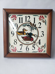 Vintage Verichron Quartz Duck Wall Clock Wood Hunting Made In USA - Works