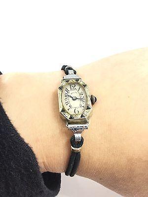 Art Deco Vintage 18K White Gold Diamond And Sapphire Invicta Wrist Watch