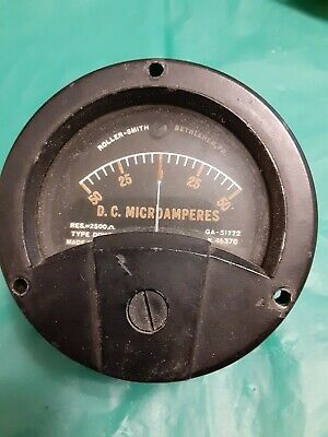 Roller Smith Dc Microamperes Gauge 50-0-50 Type Ddhrg Used Untested Stock C208