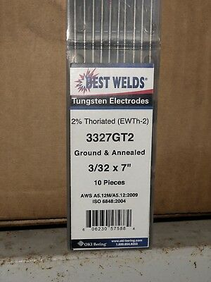 20pk / 200 Electrodes TIG Welding Tungsten Electrode 2% Thoriated (Red)