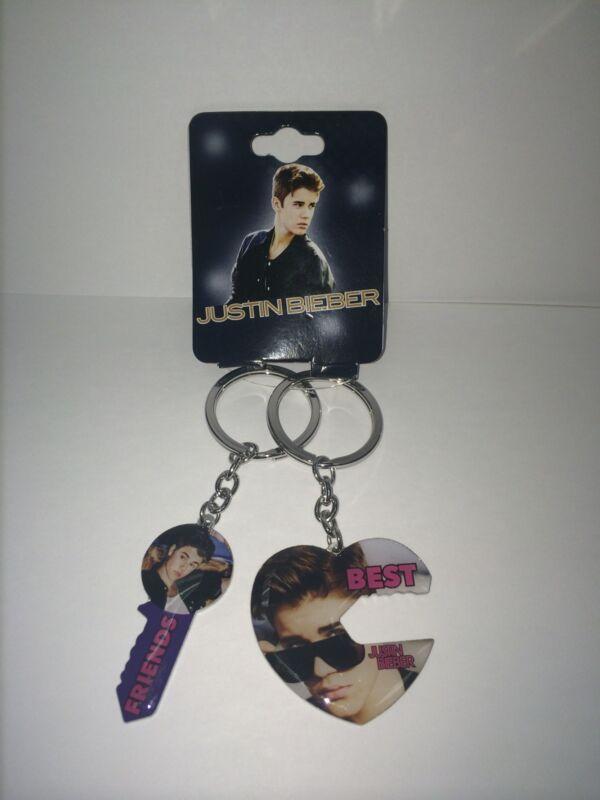 Justin Bieber Key Chain Best Friends BFF Heart & Key Keychain Set of 2 Licensed