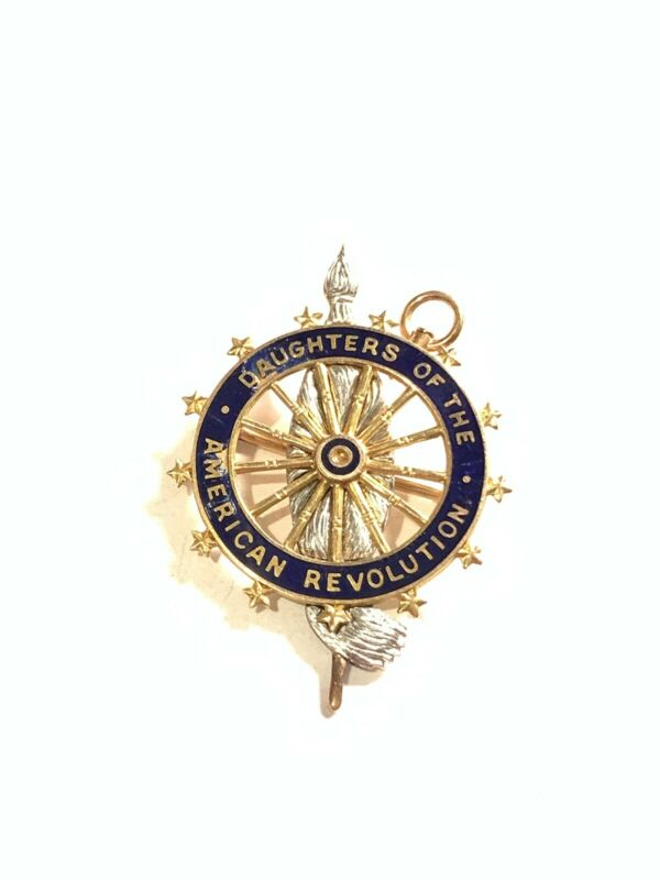 Antique 14K Gold Daughters Of The American Revolution DAR Pin Pendant