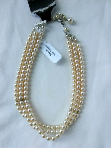 """3 Strand Cream Colored 13""""  Faux Pearls Choker Necklace Gift"""