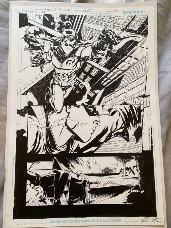 Robin #183 Page 4 Original Art Splash Cover Batman Batmobile Freddie E Williams