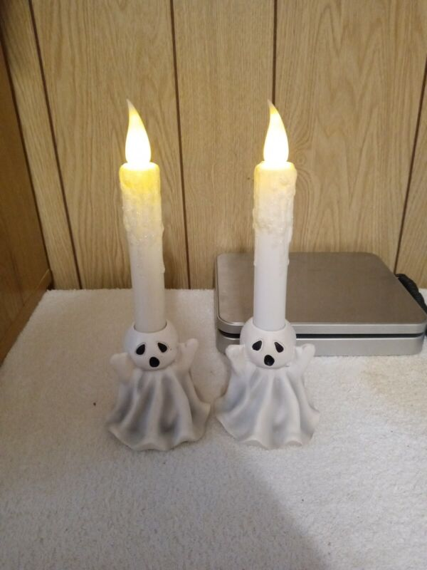 Ceramic Ghost Holding Halloween Candle Holder Light Table Decorations