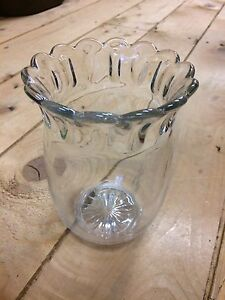 Vintage, clear glass, ruffled Vase