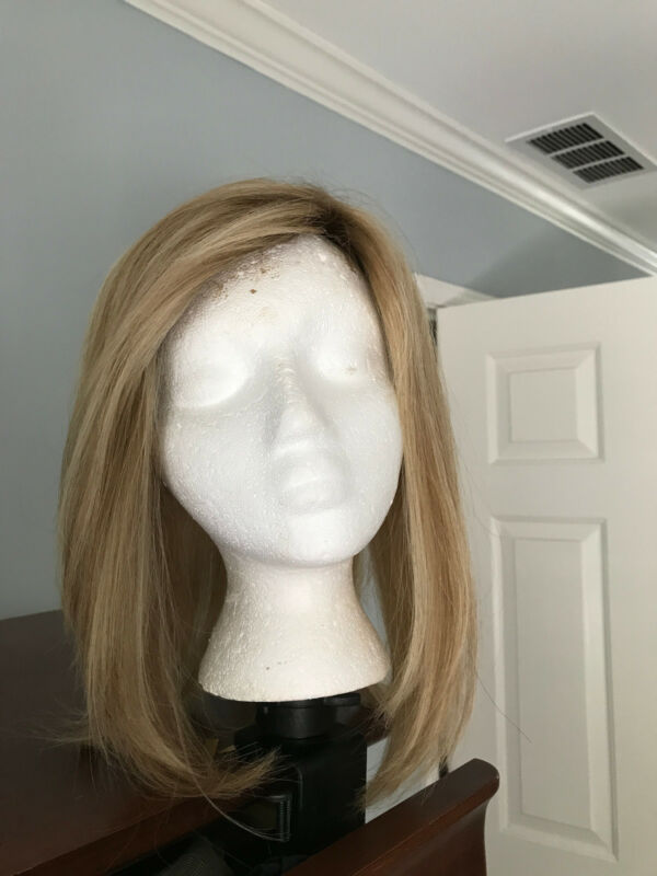 Human Hair Large Base Topper, Silk Top, Rooted Blonde