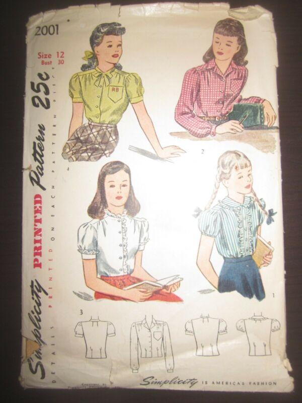 Vtg 1947 Simplicity 2001 Printed Sewing Pattern Girls