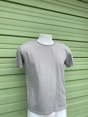 NWOT ZARA MAN GRAY OLIVE DELUXE T-SHIRT WIDE ROUND NECK  Straight fit Large 1745