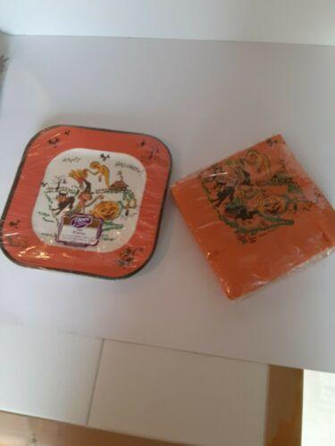 Old Vintage Halloween Paper Plates Napkins Beach Original Packages Unopened