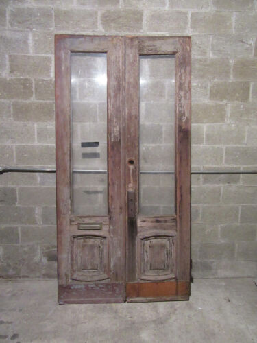 ~ ANTIQUE WALNUT DOUBLE ENTRANCE FRENCH DOORS ~ 48 x 95 ~ ARCHITECTURAL SALVAGE