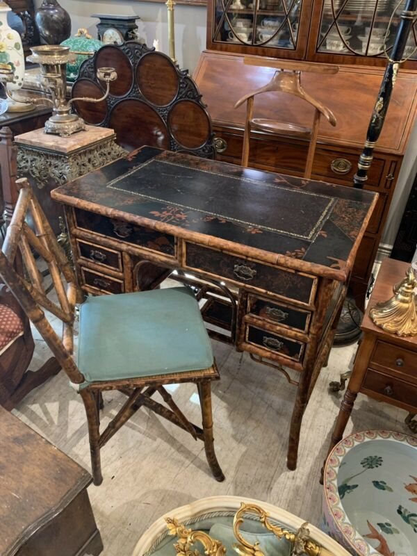 19th C ENGLISH Regency BAMBOO Chinoiserie ASIAN Leather Top Writing Desk & Chair